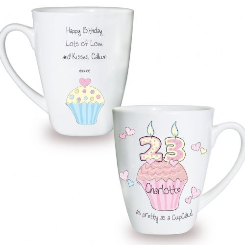Personalised Cupcake Numbers Latte Mug